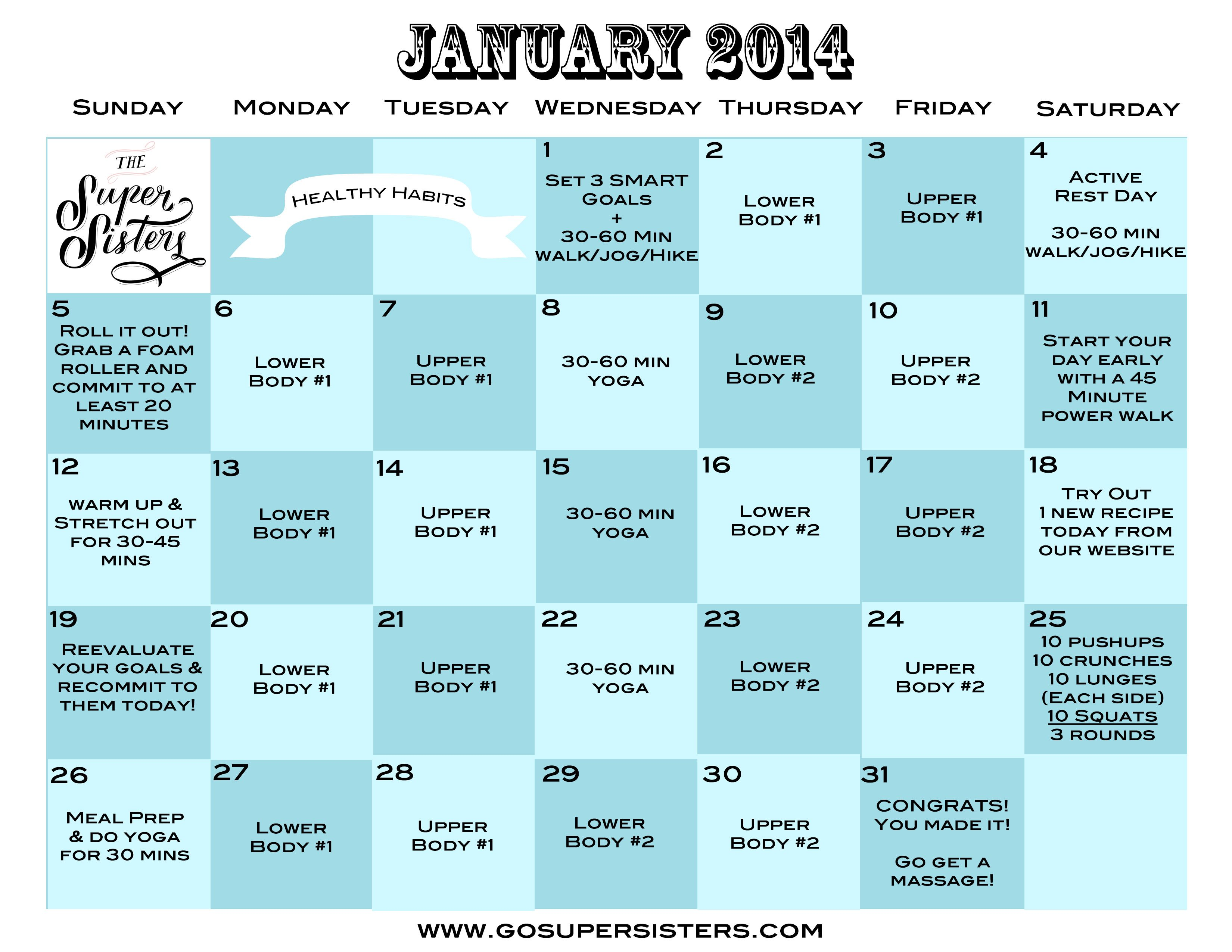 30 Day Challenge Calendar