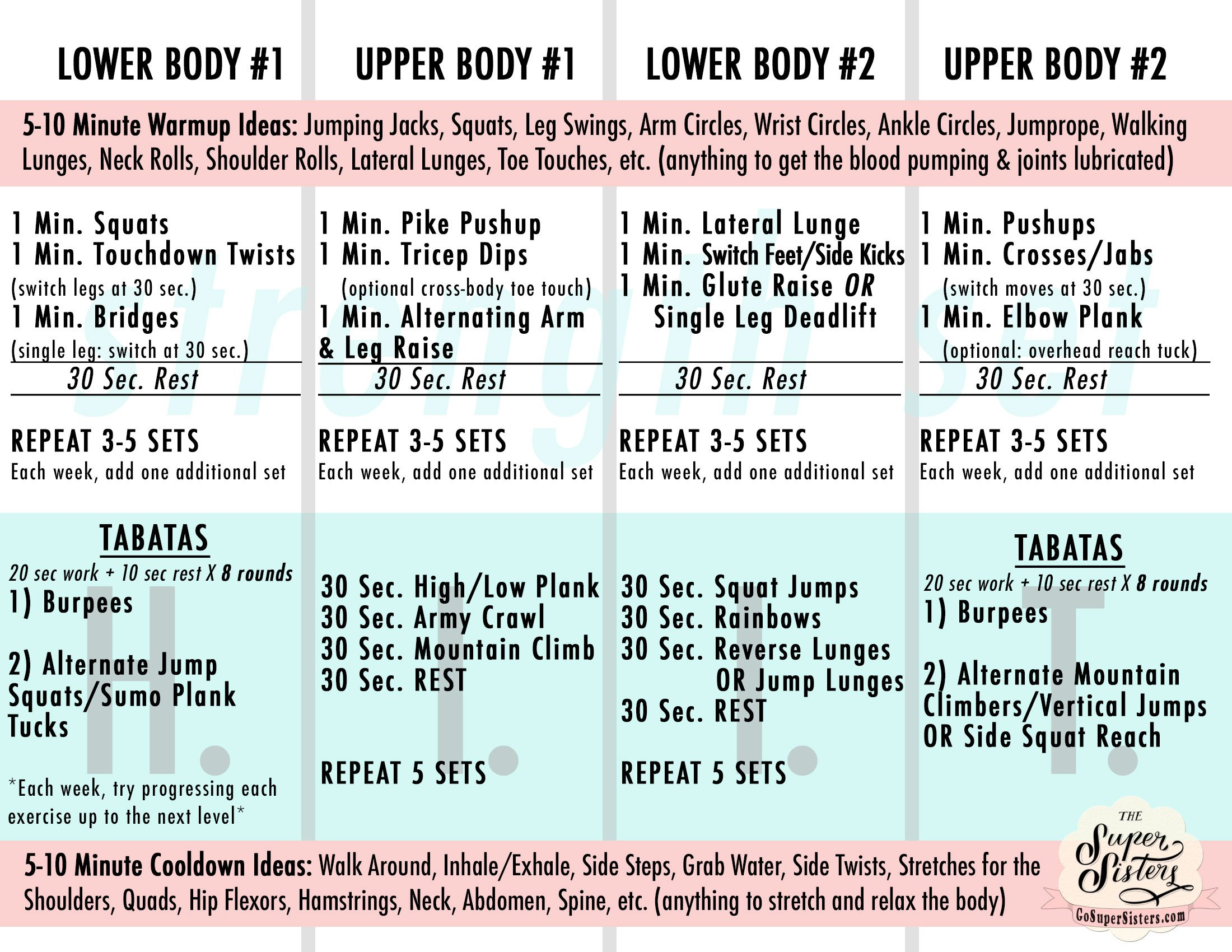 Upper Lower Body Routines Quick Reference Guide