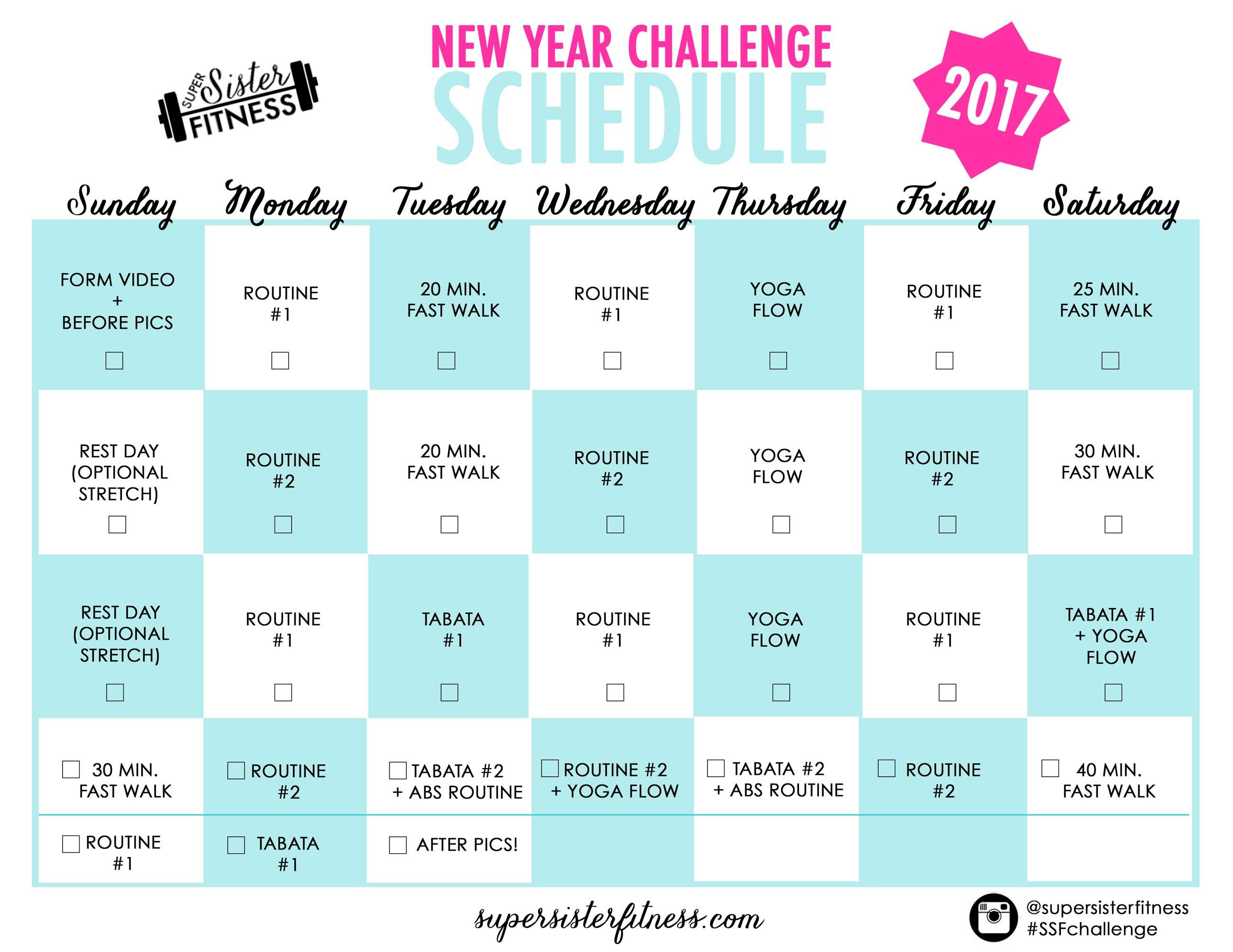 Calendar Challenge : Free new year fitness challenge starts jan
