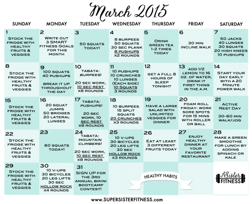 March 2015 fitness challenge free calendar