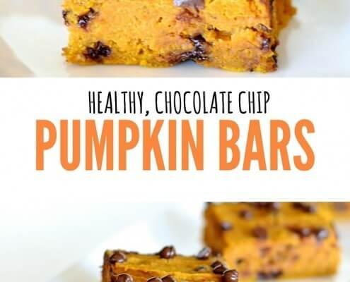 healthy chocolate chip pumpkin bars