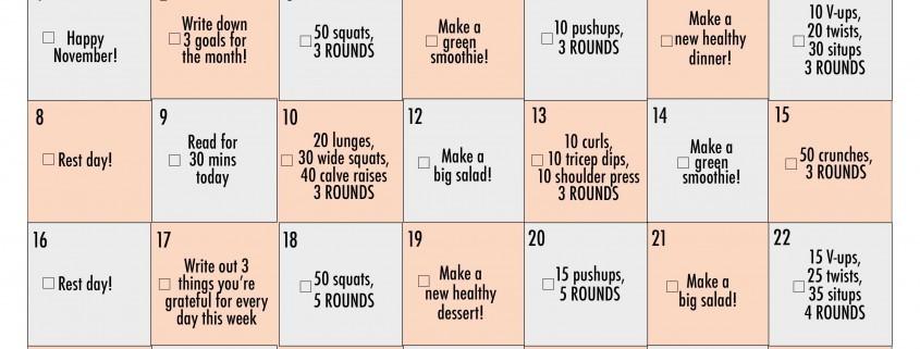 November-2015 fitness challenge calendar