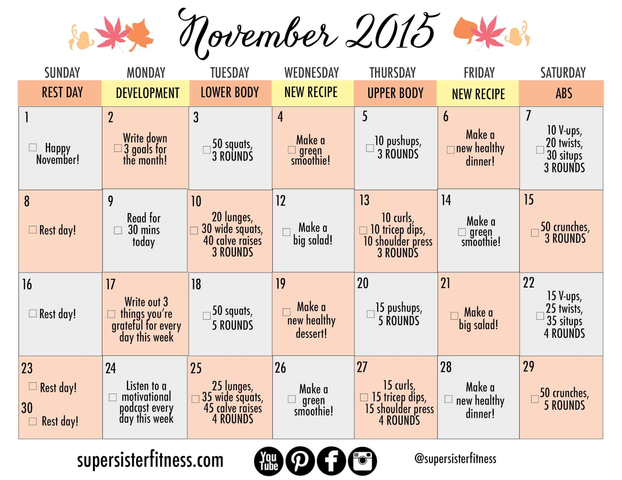 free fitness challenge calendar November 2015