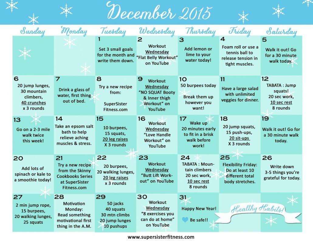 Wellness Calendar Ideas : Fitness challenge calendar december super sister