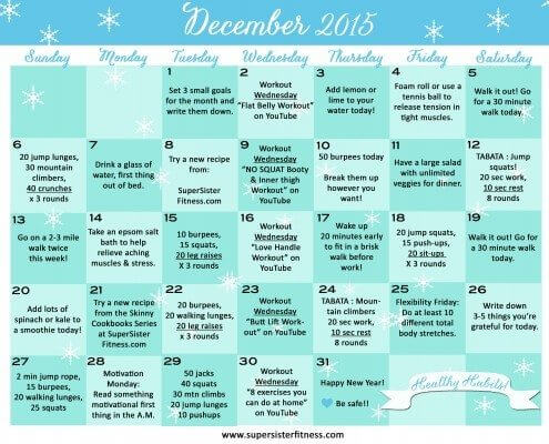 December 2015 Fitness Challenge Calendar - Healthy Habits by Super Sister Fitness