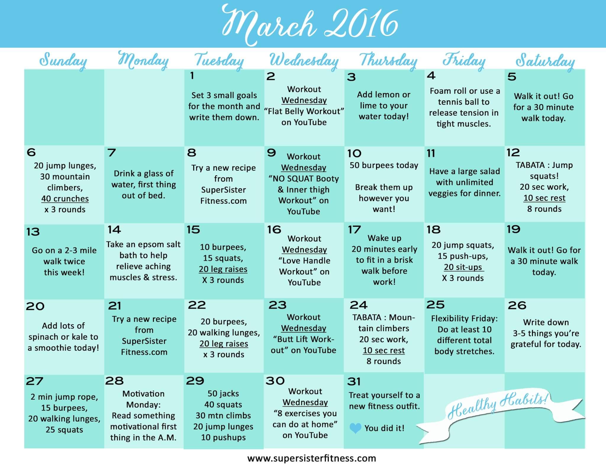 Free Fitness Challenge Calendar