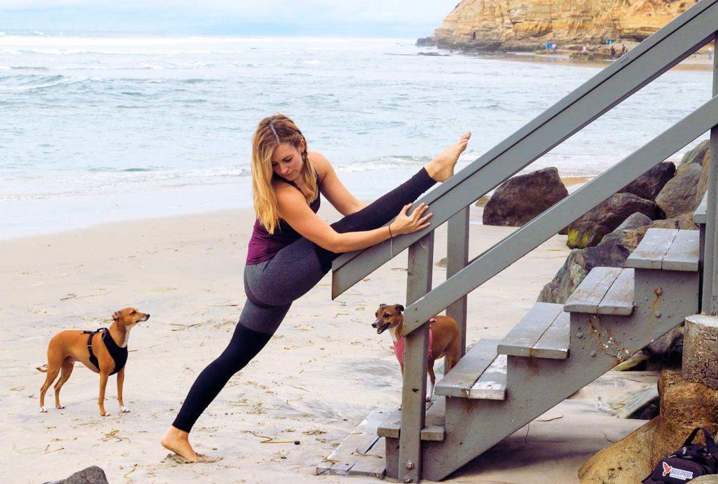 super sister fitness splits yoga pose